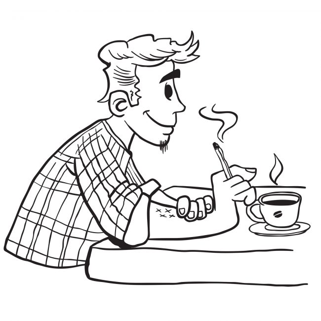 simple black and white man smoking cartoon